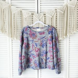 ANTHRO T.LA Floral Long Sleeve Pullover Sweater XS